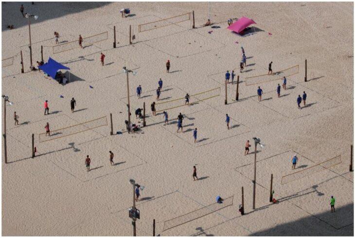 Beach volleyball players on Tel Aviv beach